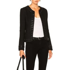 NWT L'AGENCE Devereaux Leather Whipstitch Jacket